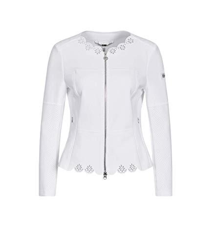 Sportalm Damen Sweatjacke mit Lasercuts Größe 48 EU Weiß (weiß)