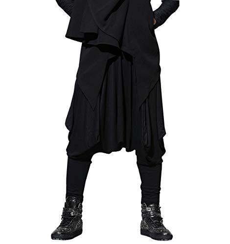 ellazhu Men s Harem Pants Elastic Waist Black Sweaterpants for Men Yoga Trouser Joggers GYM22 A