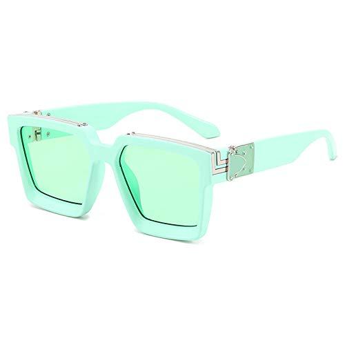 hqpaper Gafas de sol de montura cuadrada europeas y americanas, gafas de sol punk para mujer, como se muestra, tableta verde verde
