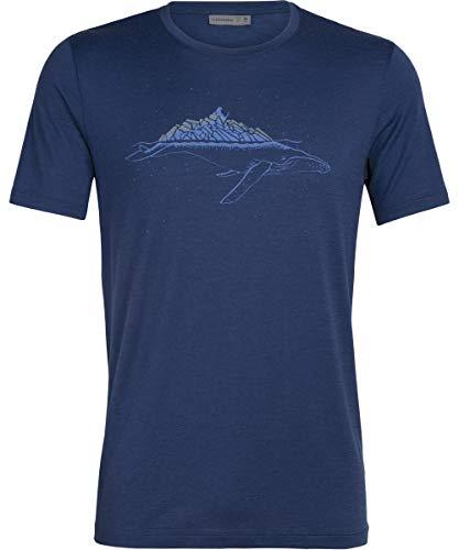 Icebreaker Tech Lite Whitecap Whale Kurzarm Rundhalsshirt Herren Estate Blue Größe L 2020 Kurzarmshirt