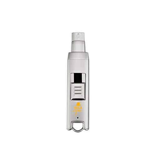 TESLA Lighter T06 Lichtbogen-Feuerzeug, elektronisches USB Stabfeuerzeug, Single-Arc Lighter, wiederaufladbar, Matt-Silber