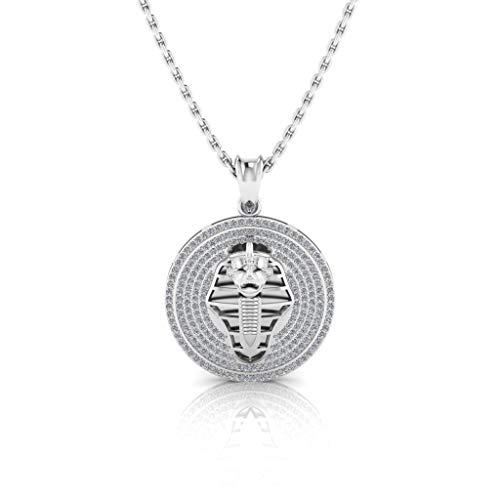 Jbr - Juego de collar redondo de plata de ley con diseño de momias egipcias para hombres y mujeres