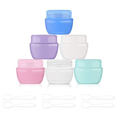 Hnmedia 6PCS Multi kleuren Cosmetische Container Pots Travel Sample Pots met Schroef Deksels en Binnenvoering voor Crème, Makeups, Lotion, Nagel Poeder, Oogschaduw, Inclusief 6 Stuks Mini Spatel