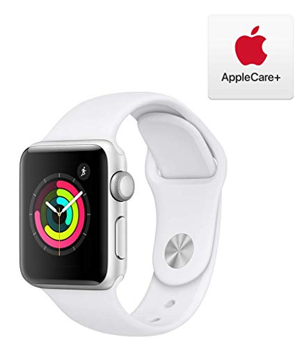 Apple Watch Series 3 (GPS, 38mm) - Silver Aluminum Case with White Sport Band with AppleCare+ Bundle