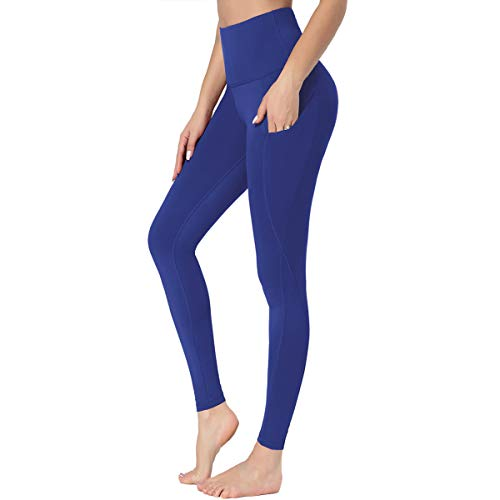 HIGHDAYS Leggings with Pockets for Women - High Waist Plus Size Yoga Pants for Workout Athletic Hiking Running Gym (Royal Blue, X-Small)