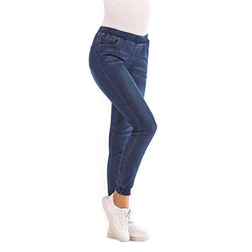 YWLINK Damen Klassisch Elastisch Plus Losen Denim BeiläUfig Frau Kurz Geschnittene Schneeflocke Denim Jeans(2XL,Dunkelblau)