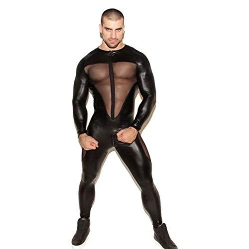 YGCLOTHES Mono De Costura De Malla De Charol Sexy para Hombre, con Pantalones De Cuero con Cremallera, Traje De Escenario De Discoteca Negro De Látex Negro Sexy Traje De Discoteca