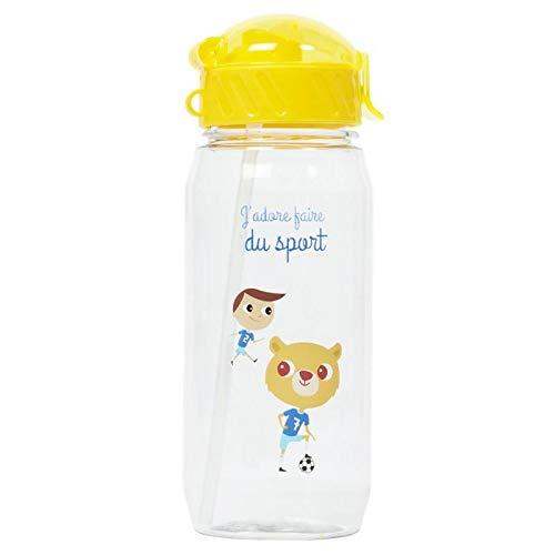 Draeger – Borraccia per bambini, motivo: piccolo calciatore, bottiglia riutilizzabile, con cannuccia, senza BPA, lavabile in lavastoviglie