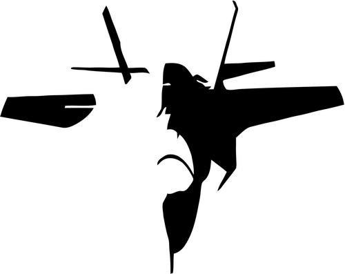 """F-35 Lightning Fighter Jet Military Vinyl Decal Sticker- 6"""" Wide Matte Black Color"""