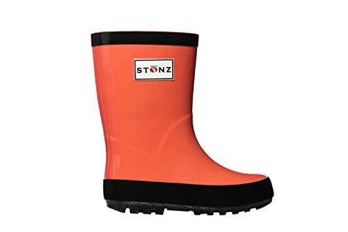 Stonz Rainboot, All-Natural Rubber Rainboots for Toddler Little Big Kid - Waterproof Colorful Warm - Summer Fall Winter - Coral, Size 4T