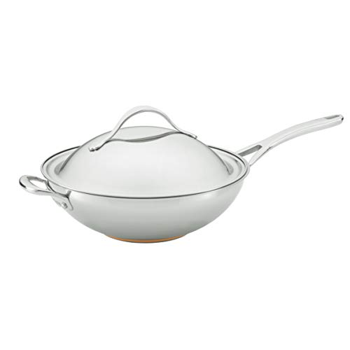 Anolon Nouvelle Stainless Steel Stir Fry Wok Pan with Lid and Helper Handle, 12 Inch, Silver
