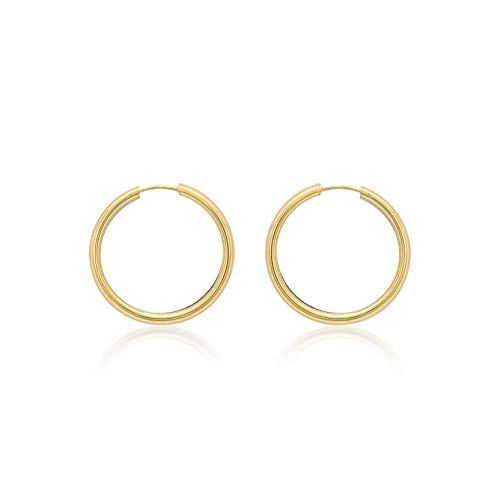 Carissima Gold Women's 9ct Yellow Gold 4mm Tube 30mm Hoop Earrings