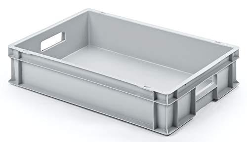 Euro-Stapelbox EB-612, 600x400x120 mm (LxBxH), grau ähnl. RAL7001, aus Polypropylen, lebensmittelecht, 2 Handgriffe, ca. 24 Liter Vol.