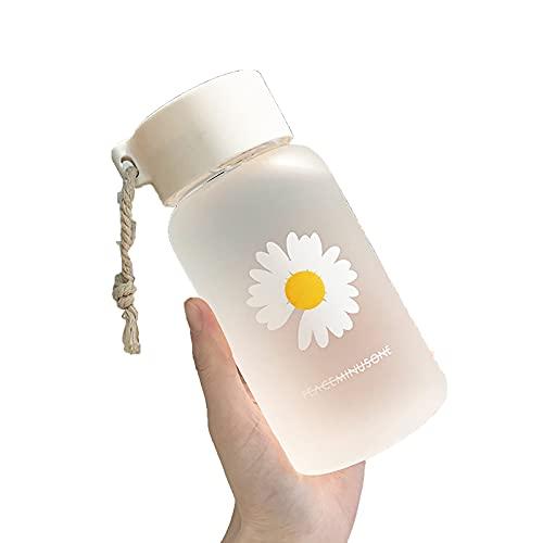 QQWA Pequeña margarita transparente botellas de agua de plástico BPA libre creativo helado botella de agua con cuerda portátil viaje taza de té 500 ml
