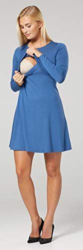 Zeta Ville – Stillen A-Linie Kleid Schwangere Rundhalsausschnitt – Damen – 128c (Blau Jeans) - 6