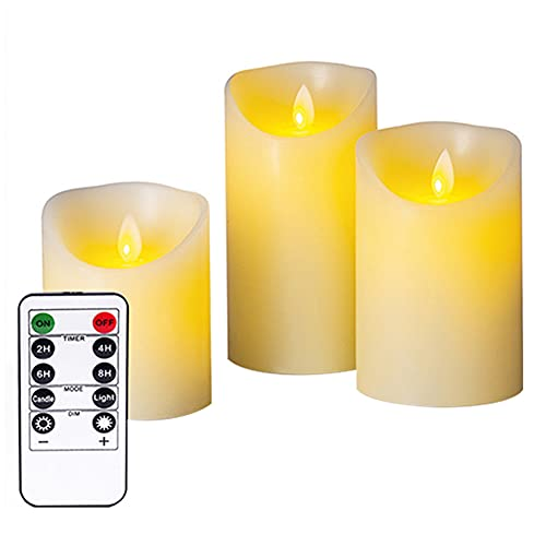 Nicejoy Velas LED, Velas sin flamadas, Velas Falsas Velas de Cera Reales con Control Remoto 3pcs