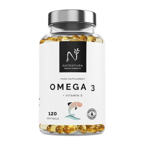 Omega 3 máxima concentración EPA – DHA. Ácidos grasos Omega 3 (2000 mg) + Vitamina E a base de aceite de pescado salvaje. 120 perlas blandas