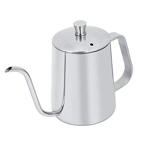 Silberne Kaffeekanne, aus Edelstahl, 13,8 x 9 x 8 cm, ergonomischer Kaffeekessel