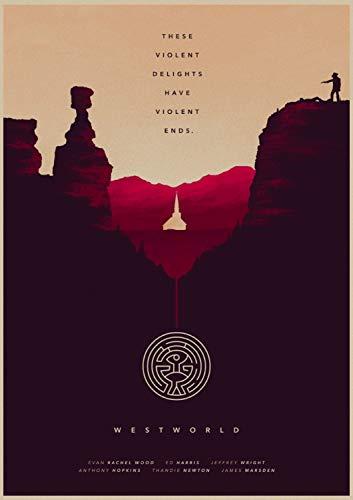 qiaolezi HBO Westworld Poster Westworld Retro Kraftpapier Poster Bar Cafe Wohnkultur Gemälde Wandaufkleber Wohnkultur Wohnzimmer A517 50 × 70CM Ohne Rahmen