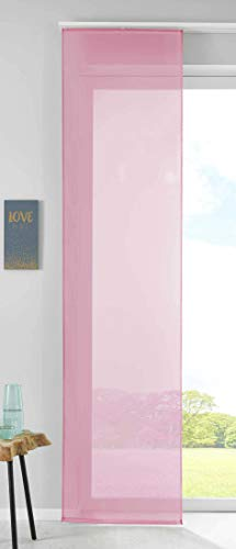 1er Set Schiebegardine Flächenvorhang Vorhang Gardine Voile HxB 245x60 cm Rosa Komplett mit Paneelwagen Beschwerungsstange, 85589N