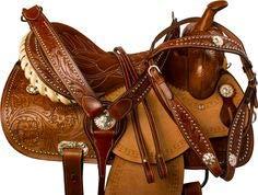 Deen, Enterprises Aparejos de cuero de primera calidad para caballos, cabeza de cuero a juego, cuello de pecho, riendas, tamaño 35,5 cm a 45,7 cm asiento disponible (asiento de 39,4 cm)