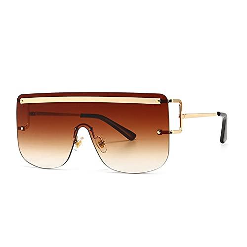 HAIGAFEW Gafas De Sol Cuadradas Integrales para Mujer Viseras De Gran Tamaño Sin Montura Marrón para Mujer Gafas De Sol para Conducir Hombres Uv400 Proteger Los Ojos-marrón