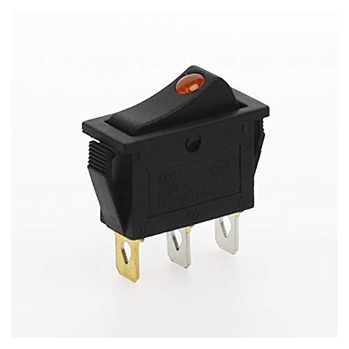 YSJSPKK Interruptor basculante 4pcs KCD3 Rocker Switch On-Off 2 Posición 3 Pin Equipo eléctrico con Interruptor de alimentación de luz Dot 16A 250VAC / 20A 125VAC (Color : Yellow)