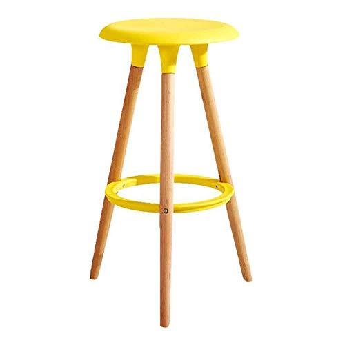 JIEER-C vrijetijdsstoel, barkruk, restaurant van massief hout, hoge zitting van polypropyleen, modern thuis, 47 × 47 × 76 cm, 6 kleuren, robuust Red