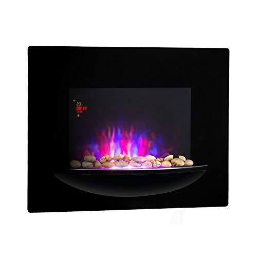 Klarstein Feuerschale - camino parete elettrico, 1800 W, 2 regolazioni, fronte in vetro ceramica, pietre decorative, timer spegnimento, installazione a parete, telecomando, nero