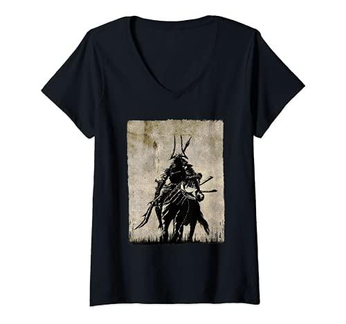 Mujer Guerrero Samurai Luchador Retro Bushido Espada Japonesa Camiseta Cuello V