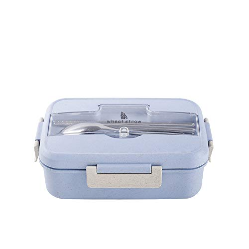 UPSTYLE Food Grade Plastic Lunch Box Kit Set Microwave Available, All-in-one Stylish Food Storage Container For Adults, Kids - Modern Square Design With Cutlery-Eco-Friendly (Blue)