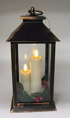 Große Bronze-Laterne mit 3 LED-Kerzen mit flackernder Flamme mit Griff, 30 cm hoch