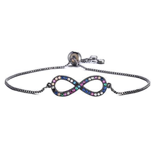 Mano Pulseras Brazalete Joyería Mujer Diseño Clásico Simple Infinity Charm Pulsera para Mujer Niña Colorida Circonita Cú