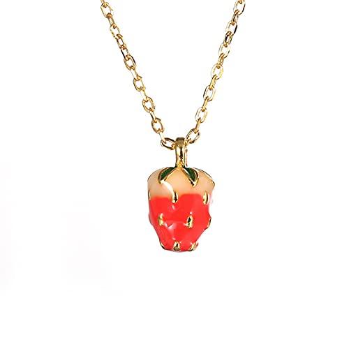 YNING Collar Femenino/Collar con Colgante de Fresa/Plata de Ley S925 / Forma de Fruta/Regalo de Cumpleaños/Longitud de Cadena Ajustable/Regalo para Niñas, Novia, Buenos Amigos/Plata