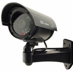 Outdoor Waterproof Fake/Dummy Security Camera with Blinking Light (Black)