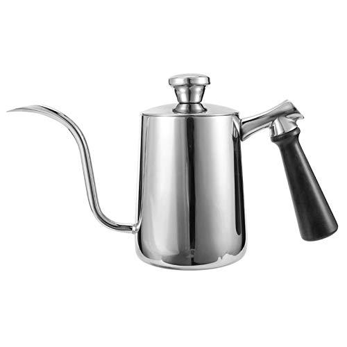 Huairdum Cafetera de Acero Inoxidable, Acero Inoxidable de Primera Calidad, Resistente al óxido, Ligero, con caño de Flujo de precisión, Estufa, para Acampar, café, té, hogar