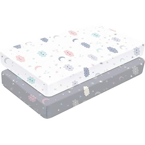 Yoofoss - Juego de sábanas elásticas para cuna de 70 x 140 cm / 50 x 90 cm, paquete de 2 colchones portátiles para colchón de cuna para bebés, niños y niñas, ultra suave, estrellas de nubes y luna