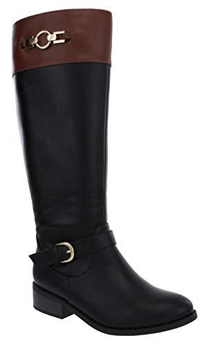 LONDON FOG Womens Noble High Riding Boot Black/Cognac 9