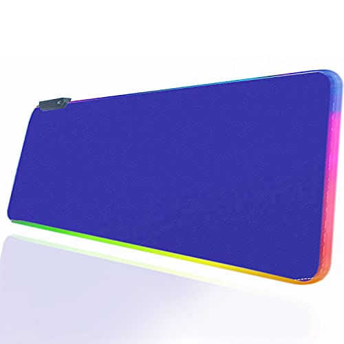 RGB Blue Gaming Mouse Pad, Large Led Mouse Pad Desk Pad for Large LED Soft Light Up keyboard and Mouse Pad Non-Slip Rubber Base PC Gaming Mousepad High-Performance Pad Optimized for Gamer,31.5x12 inch