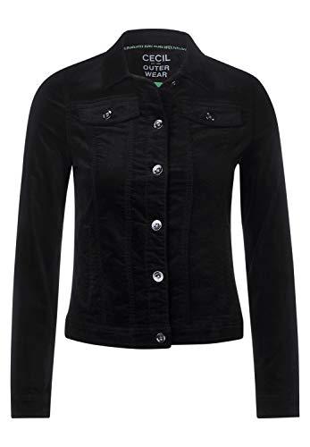 Cecil Damen 211252 Velvet Jeansjacke, Black, XL