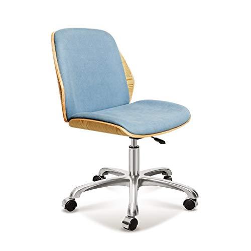 LZY Startseite Dorm Bürostühle in Mid-Century Modern-Design mit Lederpolsterung, Holz Akzente, Edelstahl Beine, Roller Räder & Einstellbare Höhe, Blau