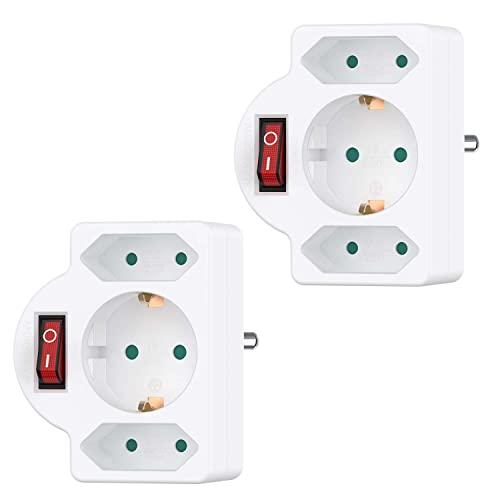 benon 2er Set Mehrfachstecker Weiß mit Schalter - Steckdosen-Adapter mit Kindersicherung - Doppelstecker 3680W - 3Fach Multistecker - 2 Euro- und 1 Schuko - Mehrfachsteckdose
