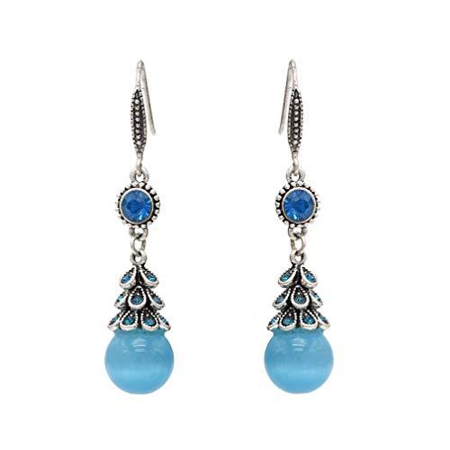 YAZILIND Frauen Tropfen Baumeln Boho Ohrringe Harz Strass Angelhaken Ohrringe Erklärung Vintage Retro Silber Schmuck Blau