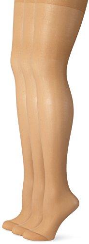 Ulla Popken Große Größen Damen Weites Bein Strumpfhose Strumpfhose, 3er Helanca 668121, 20 DEN, Gr. XX-Large (Herstellergröße: 48+), Beige (Teint 26)