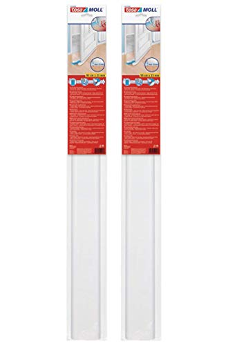 tesamoll Zugluftstopper für glatte Böden (2 Stück Weiß)