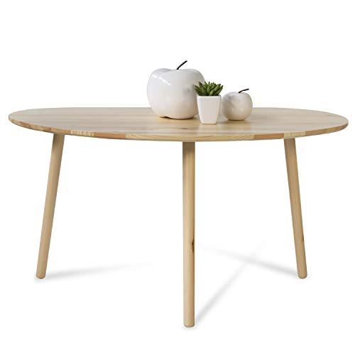 Homestyle4u 1881, Beistelltisch Natur, Couchtisch Holztisch Nierentisch, Tisch Holz Kiefer
