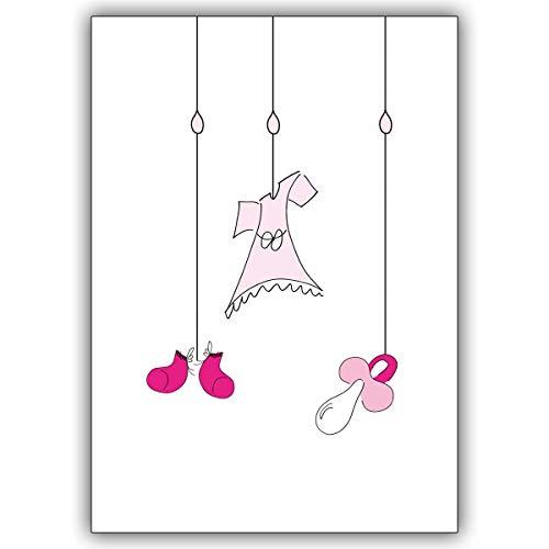 Wenskaarten met korting voor hoeveelheid: doop, geboorte babykaart met meisjes dingen aan snoeren • vrolijke wenskaart, cadeaukaart voor de geboorte om de jonge familie te feliciteren zakelijk & privé 4 Grußkarten