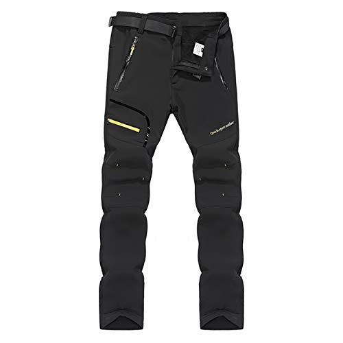 7VSTOHS Pantaloni da Trekking da Escursionismo in Pile da Uomo Pantaloni Invernali Caldi Antivento per Arrampicata Caccia e tiro Sci