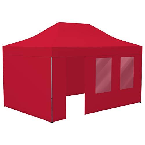 Vispronet Profi Faltpavillon Basic 3x4,5 m in Rot, Stahl-Scherengitter, 4 Seitenteile - Davon 1 Wand mit Tür & Fenster (weitere Farben & Größen)