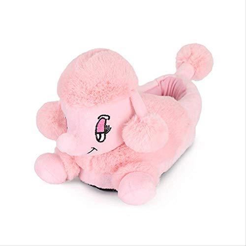 MXSWZ Unisexe 3D Animal Pantoufles Hommes Femmes et Enfants Hiver Chaud Court Peluche Maison Chaussure Mignon Caniche Style Pantoufle Intérieur 6.5 Rose
